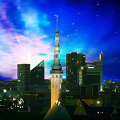 Abstract background with silhouette of city — Cтоковый вектор
