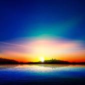 抽象的な性質の背景に森林湖、日の出 — ストックベクタ