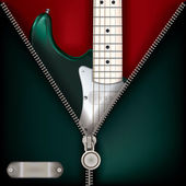 Abstract music green background with guitar and open zipper — Stock Vector