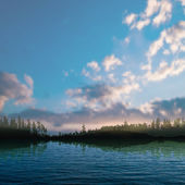 Nacht aard achtergrond met bos meer abstract — Stockvector