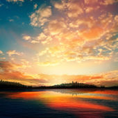 Abstracte zonsondergang achtergrond met forest lake — Stockvector