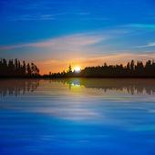Abstracte achtergrond met forest lake — Stockvector