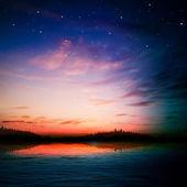 Abstrakt natur bakgrund med skogstjärn och soluppgång — Stockvektor