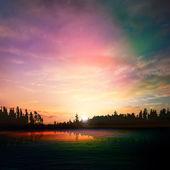 Abstracte aard donkere achtergrond met bos meer zonsondergang en clou — Stockvector