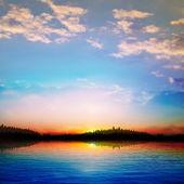 Abstrakt solnedgång bakgrund med skogstjärn — Stockvektor