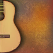 Abstract grunge music background with guitar on brown — Stockvektor