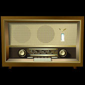 Retro radio isolated on black background — Stock Vector