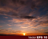 Abstract nature background with sunset and clouds — Stok Vektör