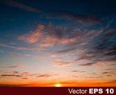 Fond de nature abstraite avec coucher de soleil et de nuages — Vecteur
