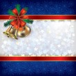 Christmas background with handbells and gift ribbons — Stock Vector #6647632