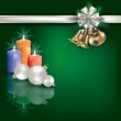 Christmas greeting with candles and white gift ribbons — Stock Vector #6683054