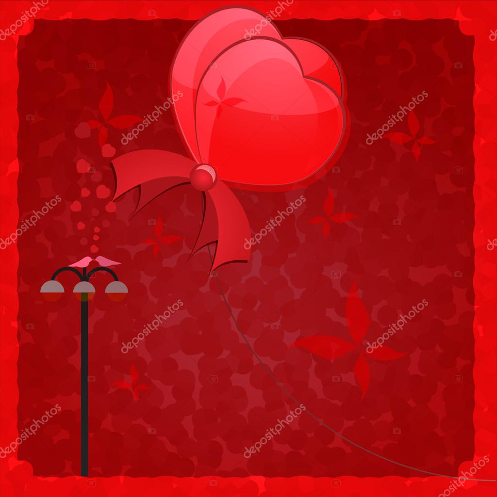 Air ballons Valentines hearts. Vector illustration — Stock Vector #17630913