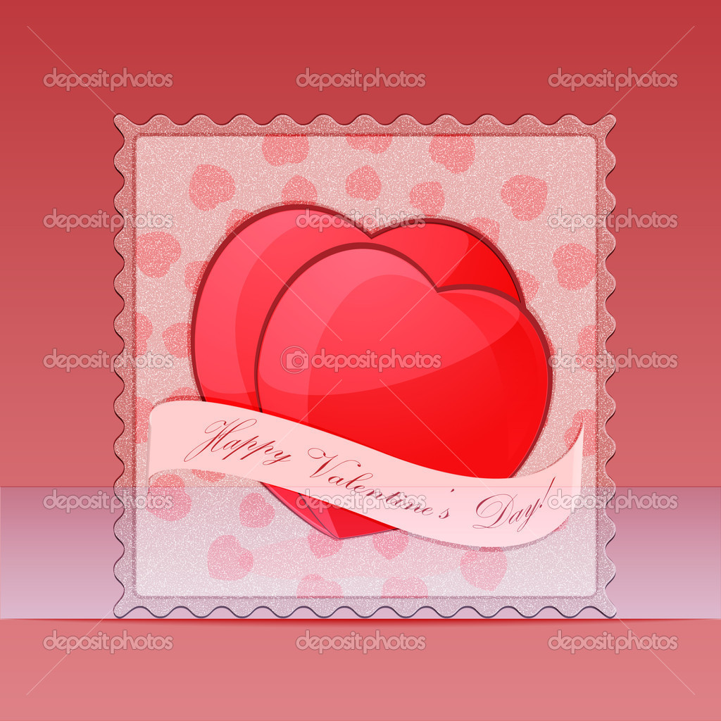 Postage stamp with Valentine's hearts.Vector Illiustration — Stock Vector #17642081