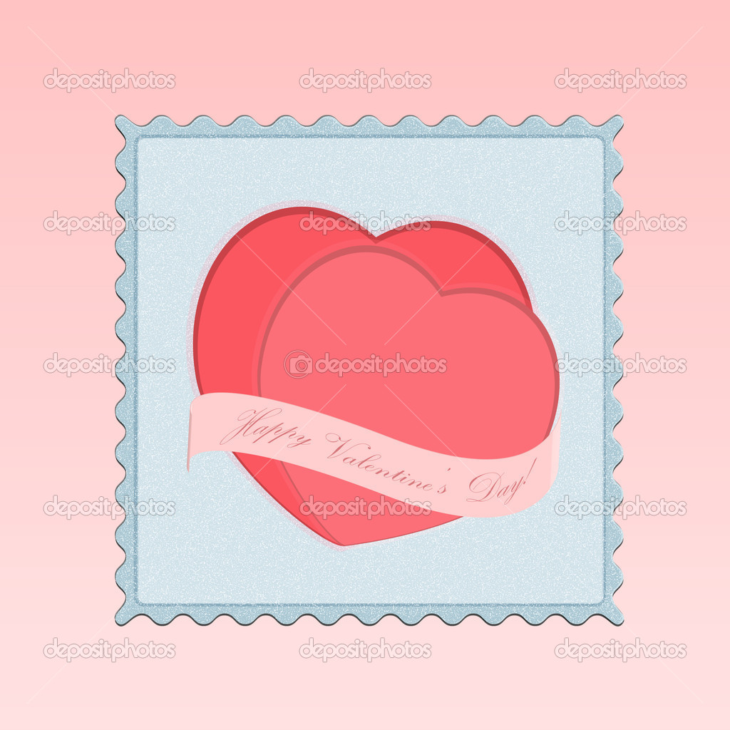 Postage stamp with Valentine's hearts. Red background  — Stock Vector #17642317