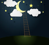 Moon and Ladder — Stock Vector