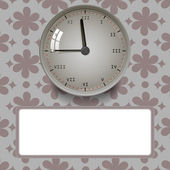 Clock on floral background — Vector de stock