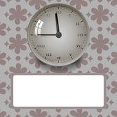 Clock on floral background — Stockvektor