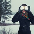 Humorous portrait of  woman with snow-balls - Stok fotoğraf