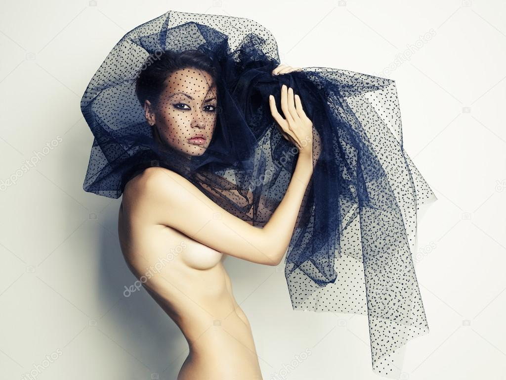 Sensual beautiful woman under the black veil — Photo #14288181