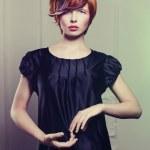 Beautiful lady in black dress — Stock Photo