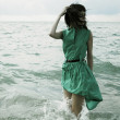 Woman in sea during storm — Stock Photo #2655725