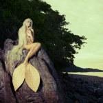 Beautiful mermaid sitting on rock — Stock Photo