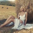 Sexy blonde in hayfield — Stock Photo