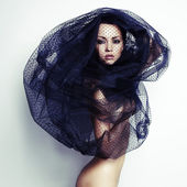 Gorgeous lady under veil — Stock Photo