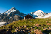 Panorama with Schoebiel SAC mountain hut and matterhorn — Stock Photo