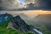 Panoramic mountain view from Brienzer Rothorn — Stock Photo