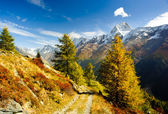 Bietschorn mountain peak in autumn with hiking trail — Stock Photo