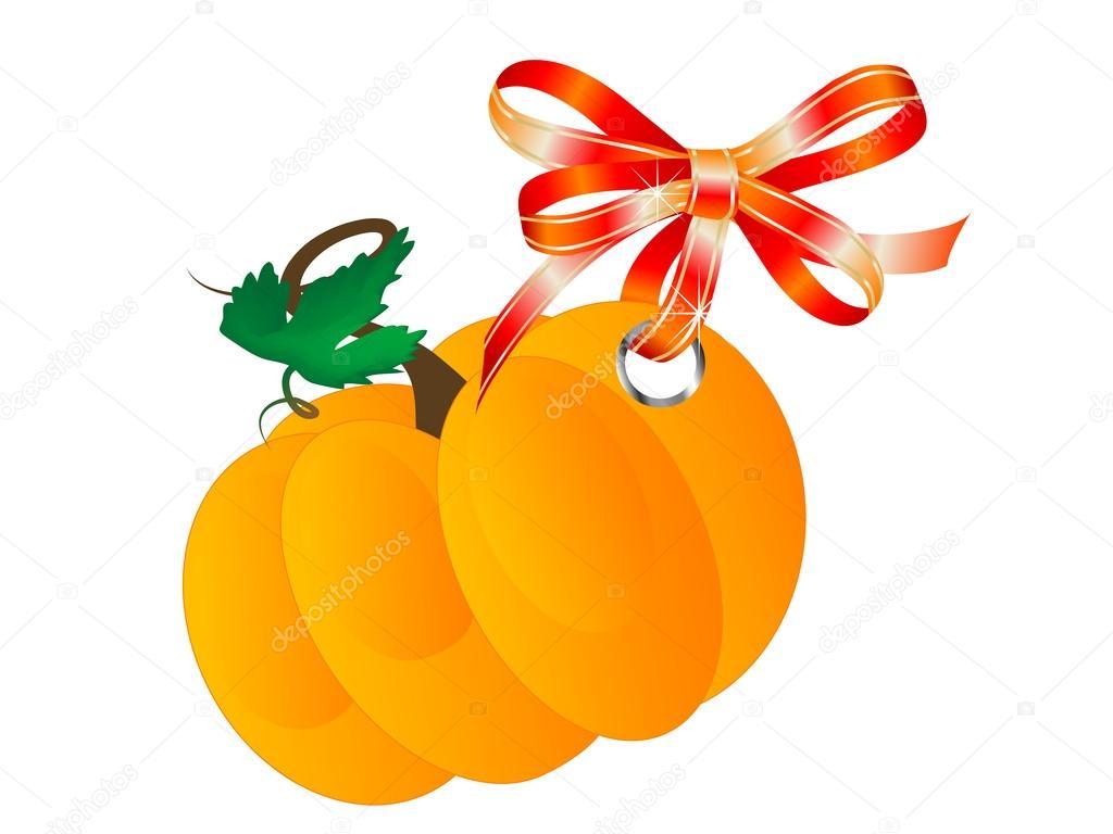 挂上红色蝴蝶结的橙色南瓜– 图库插图