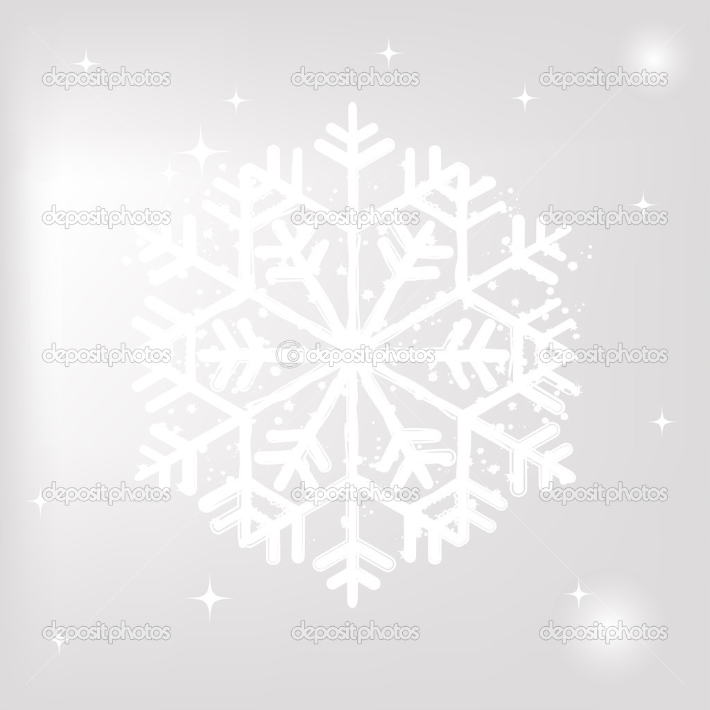 One big snowflake on grey background — Image vectorielle #17419811