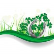 Horseshoe and clover — Stock Vector