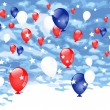Red, blue and white balloons — Stock Vector
