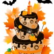 Stock Vector: Halloween cake