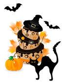 Pastel de halloween — Vector de stock