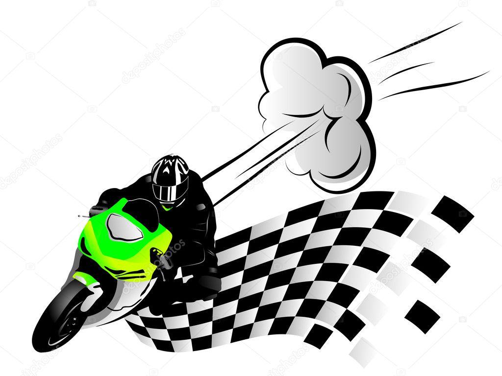矢量插图的摩托车赛车手和完成标志