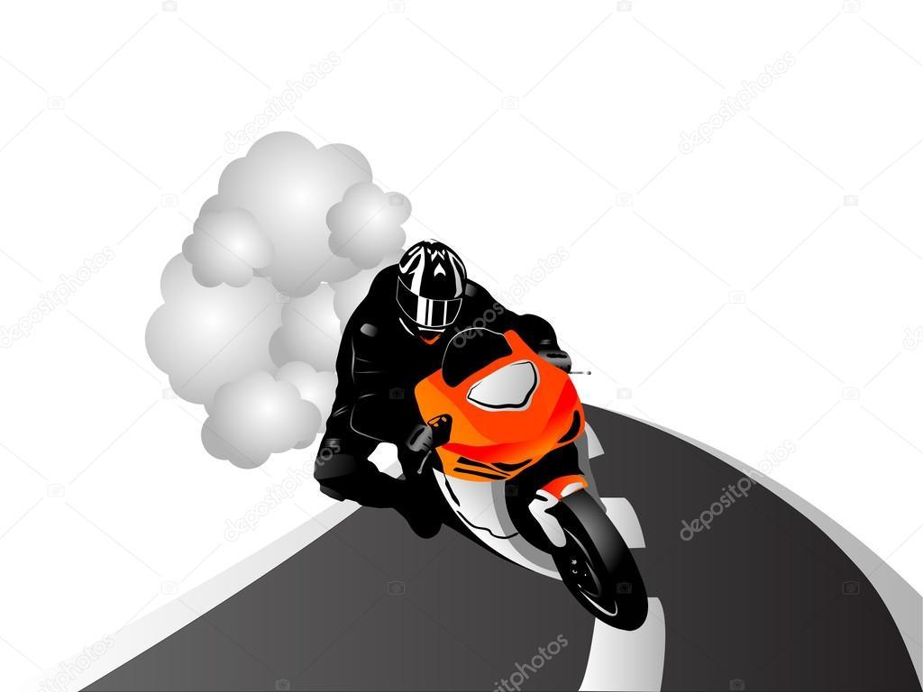 矢量图的摩托车赛车手的道路上