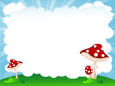 Mushrooms and cloud — Stock Vector