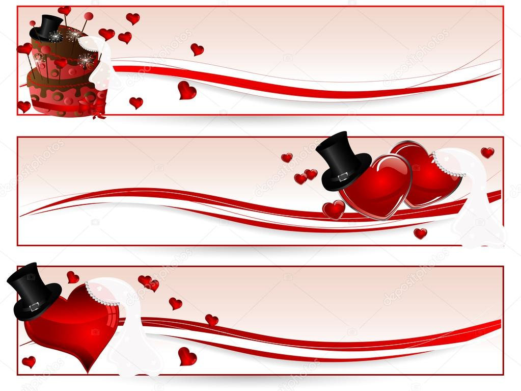 Banner Wedding Vector Wedding Banners With Red