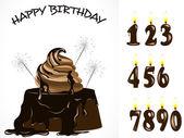 Birthday chocolate cake — Stock Vector