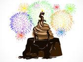 Birthday chocolate cake — Stock vektor