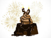 Pastel de chocolate — Vector de stock