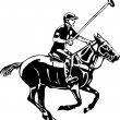 Polo horse and player — 图库矢量图片