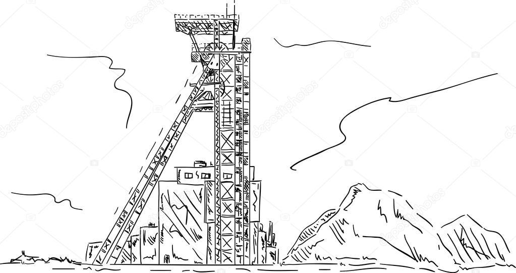 Coal Mining Drawings Vector Coal Mine Headgear