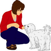 Girl with dog — Vector de stock