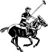 Jugador y caballo de polo — Vector de stock