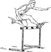 мужчины в гонке, препятствие — Cтоковый вектор