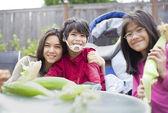 Kids peeling husk off ears of corn — Stock Photo